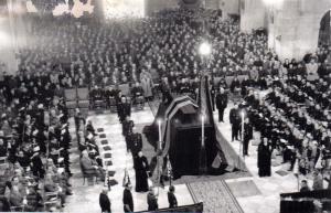 funeral por José Antonio que se celebró en la Basílica del  Valle de los Caídos (la inauguración oficial había sido el 19 de Abril 1959)