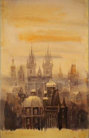 Vista de la ciudad vieja de Praga | Crédito: Auktionshaus Weidler.