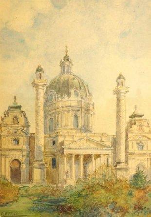 'Iglesia de San Carlos Borromeo, Viena', por Adolf Hitler | Crédito: Auktionshaus Weidler.