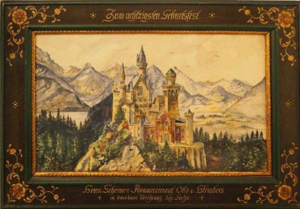 Vista del castillo de Newuschwanstein, por Adolf Hitler | Crédito: Auktionshaus Weidler.